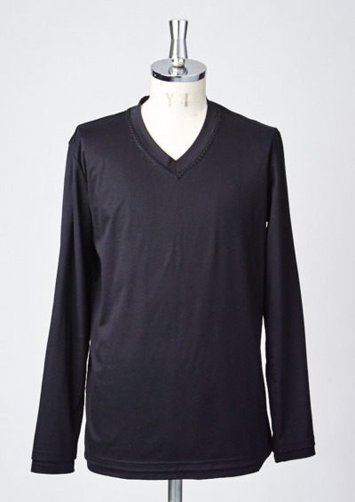 T193 / L/S HAND STITCH V-NECK -BLACK-の写真