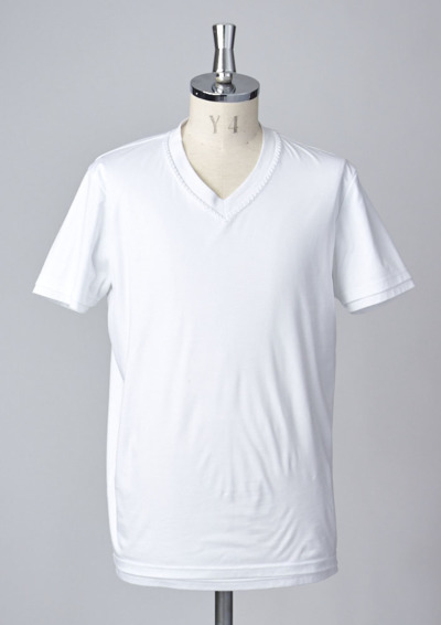 T194 /S/S HAND STITCH V-NECK -WHITE-の写真